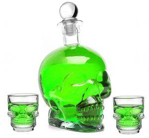 Totenkopf-Flasche aus Glas